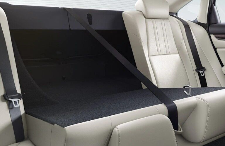 A photo of the backseat folded down in the 2021 Honda Accord.