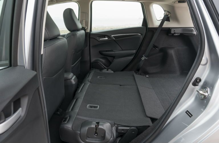 A photo of the rear seats folded down in the 2020 Honda Fit.