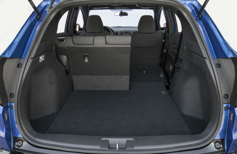 A photo showing an interior configuration in the 2019 HR-V with one outboard seat folded down.