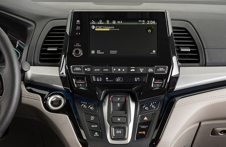 A close-up photo of the infotainment screen of the 2019 Odyssey.