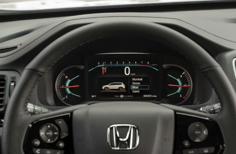 A photo of the center gauge cluster in the 2020 Honda Passport.
