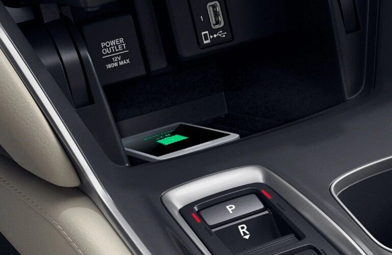 A photo of the lower console in the 2021 Honda Accord.
