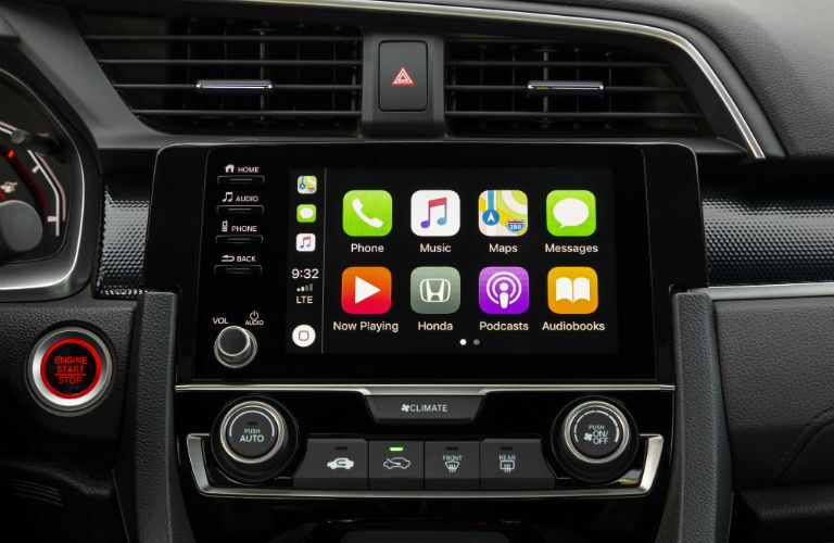 A photo of the touchscreen interface in the 2019 Honda Civic Coupe.