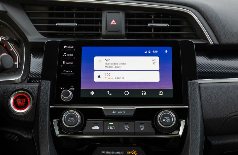A photo of the touchscreen interface used by the 2020 Honda Civic Coupe.