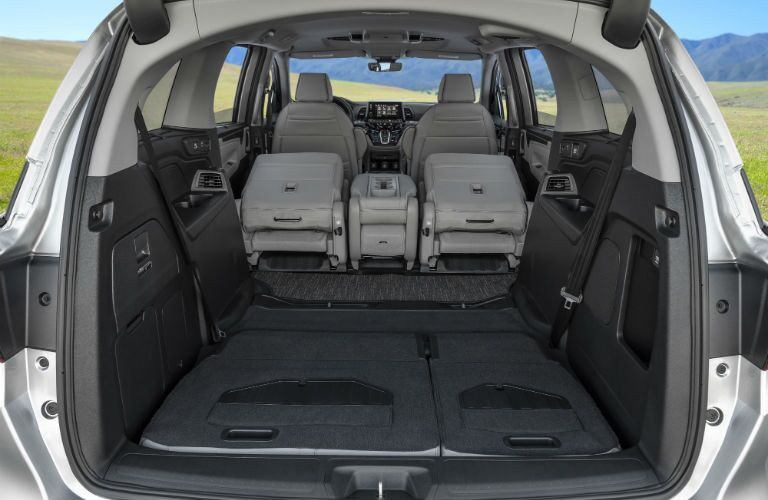 A photo of one of the cargo configurations in the back of the 2021 Honda Odyssey.