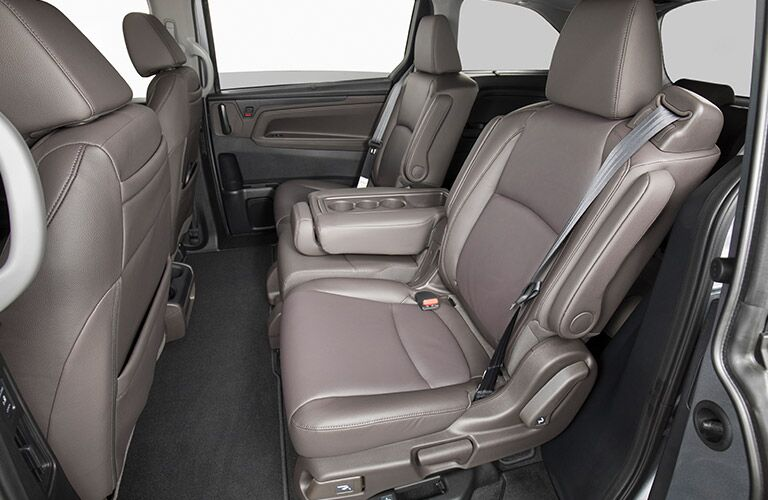 A photo of the second row with captain's chairs in the 2019 Odyssey.