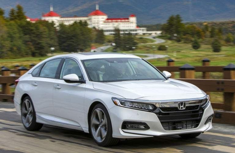 View of the 2022 Honda Accord in white while on road