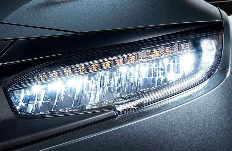 View of the front headlights of the 2021 Honda Civic Coupe
