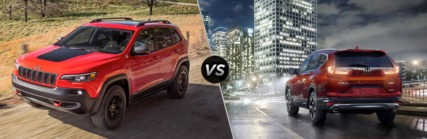 A side-by-side comparison of the 2019 Jeep Cherokee vs. 2019 Honda CR-V.