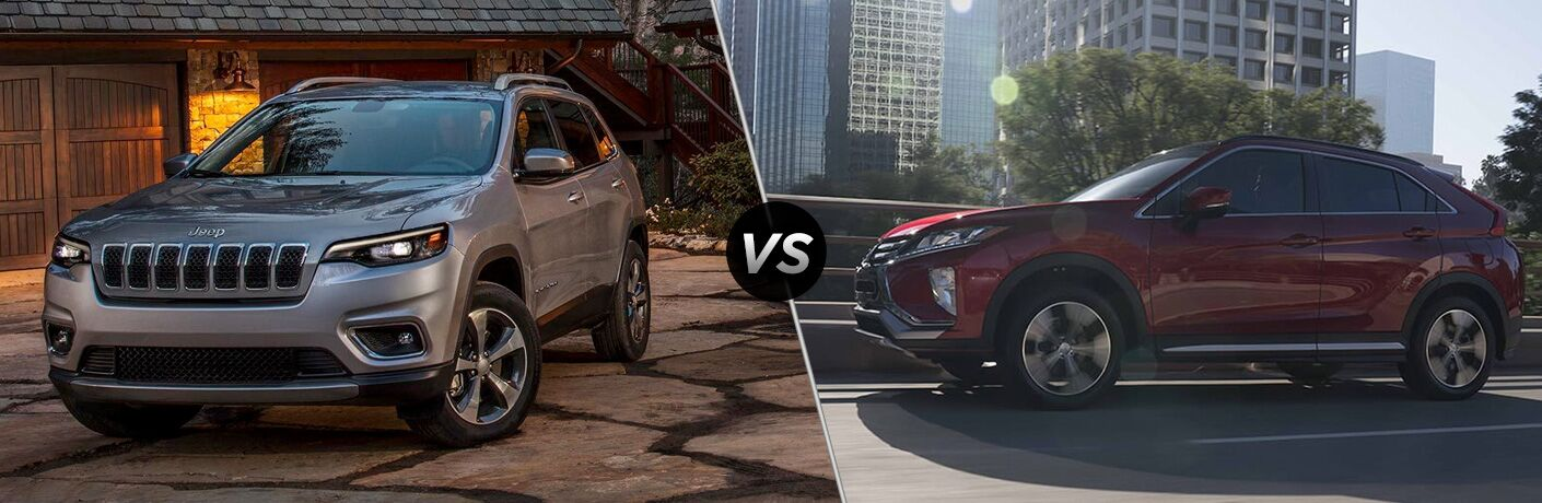 A side-by-side photo of the 2019 Jeep Cherokee vs. 2019 Mitsubishi Eclipse Cross.
