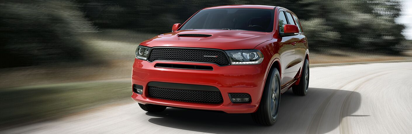 A front end photo of the 2019 Dodge Durango on the road.