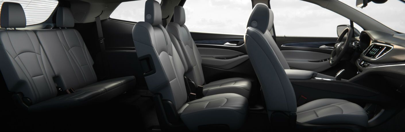 A cut away photo showing all three rows of seats in the 2019 Buick Enclave.