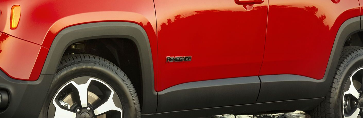 A close up photo of the Renegade badge on the 2019 Jeep Renegade.