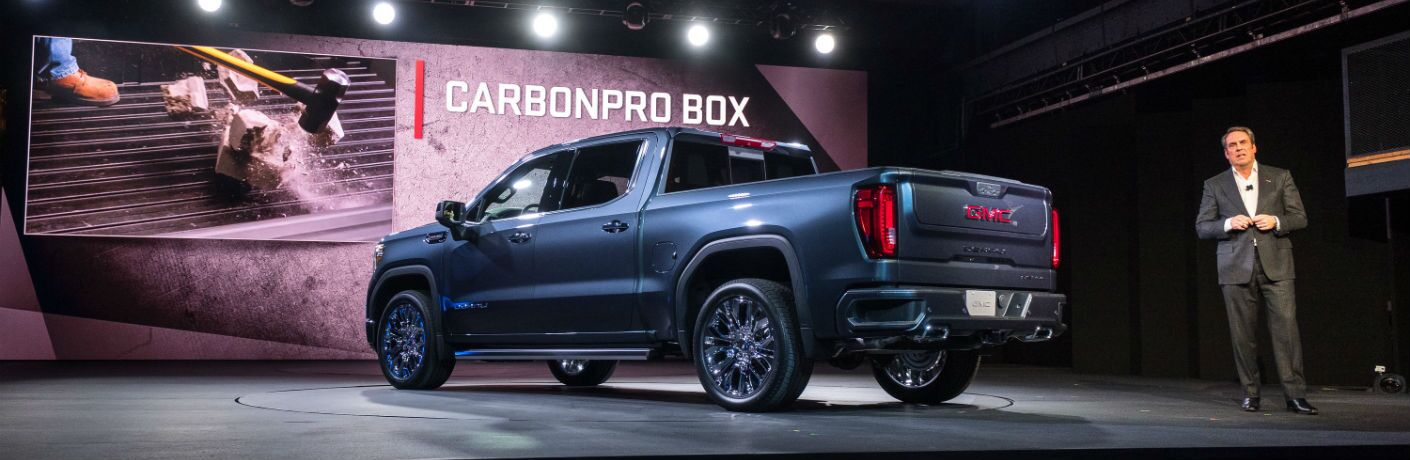 A photo of the 2019 GMC Sierra at its world debut in Detroit.