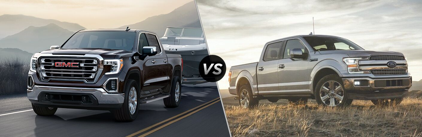 A side-by-side comparison of the 2019 GMC Sierra vs. 2018 Ford F-150.
