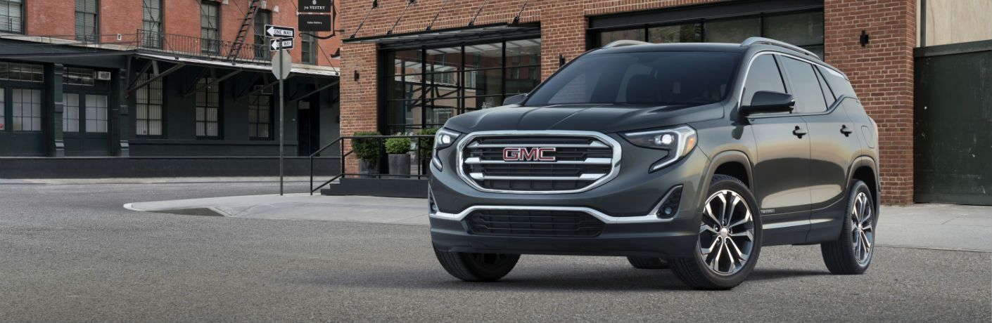 A front left quarter photo of the 2019 GMC Terrain.