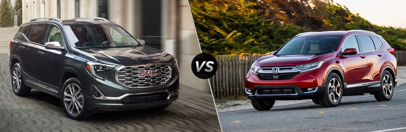A side-by-side comparison of the 2019 GMC Terrain vs. 2019 Honda CR-V.