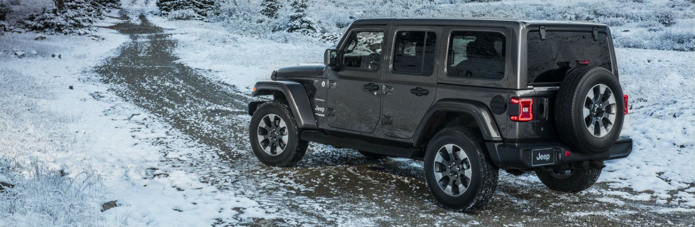 A left profile photo of a four-door version of the 2019 Jeep Wrangler on an off-road trail.