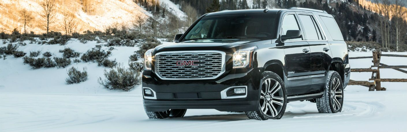 A front left quarter photo of the 2019 GMC Yukon Denali.