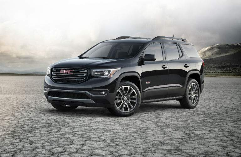 A front left quarter view of the 2018 GMC Acadia