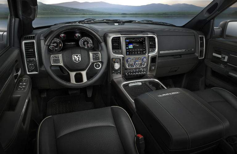 A view of the front portion of the interior of the 2018 Ram 1500 with its new touchscreen