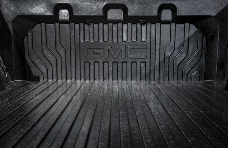 A photo of the carbon fiber cargo bed in the 2019 GMC Sierra