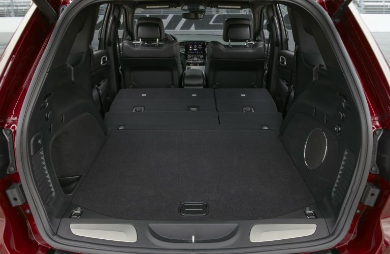 An interior photo of the maximum cargo configuration of the 2019 Grand Cherokee.