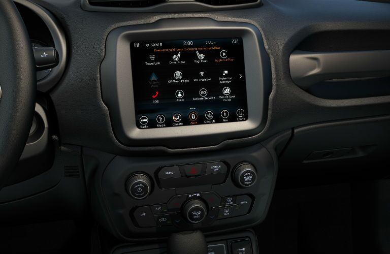 A photo of the touchscreen used in the 2019 Jeep Renegade.