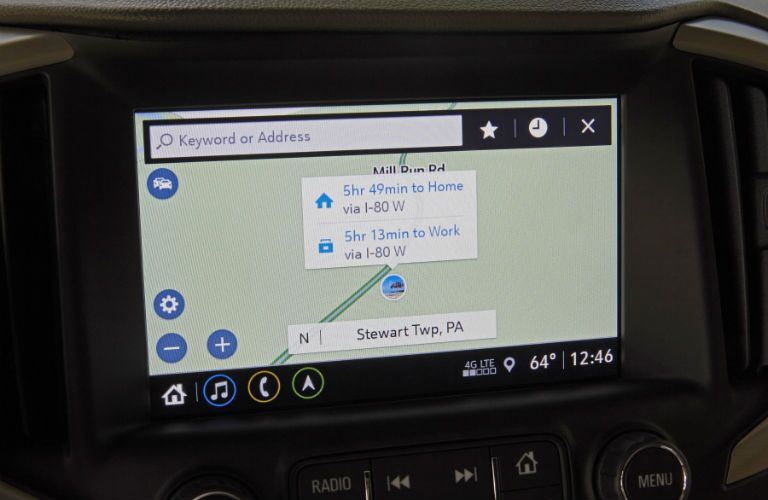 A close up photo of a navigation display in the 2018 GMC Terrain.