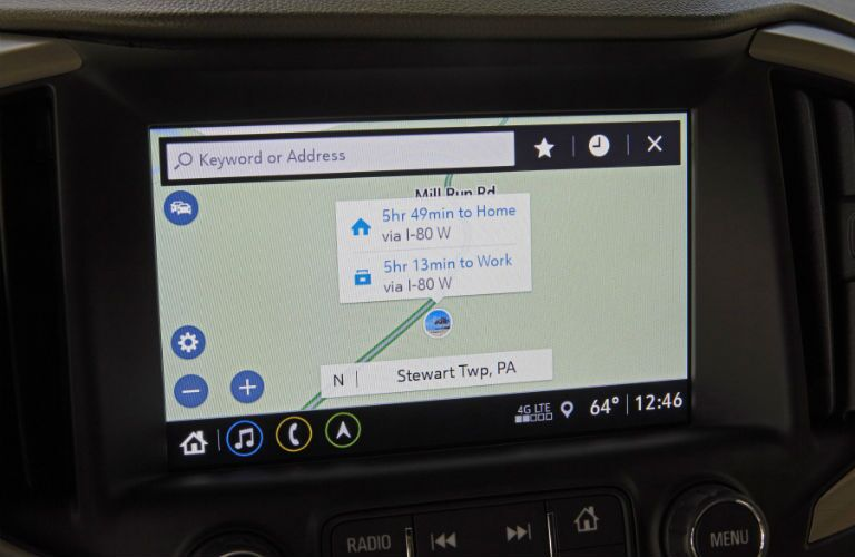 A close up of the touchscreen interface used on the 2019 GMC Terrain.