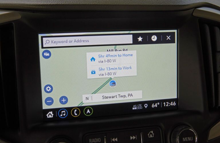 A photo showing the navigation function in the 2019 Terrain.