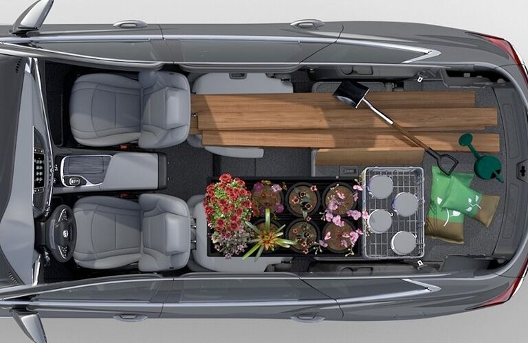 An overhead cut away photo showing how much cargo space in available in the 2018 Enclave.