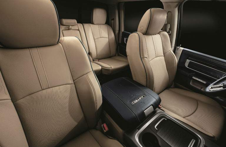 An interior photo of the 2018 Ram 1500 with a tan upholstery option