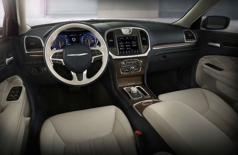 A front view of the dashboard and infotainment system of the 2018 Chrysler 300.