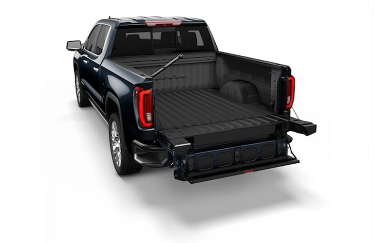 A photo of one of the configurations of the tailgate on the 2019 GMC Sierra.