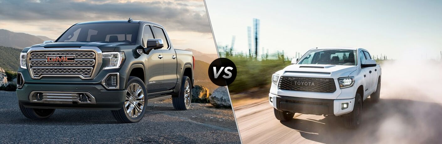 A side-by-side comparison of the 2019 GMC Sierra vs. 2019 Toyota Tundra