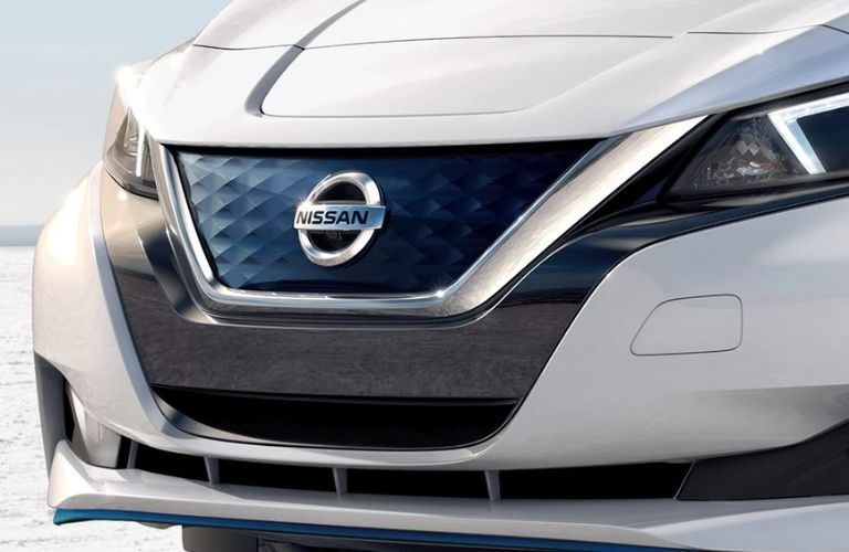 Close up view of the front grille of the 2022 Nissan LEAF