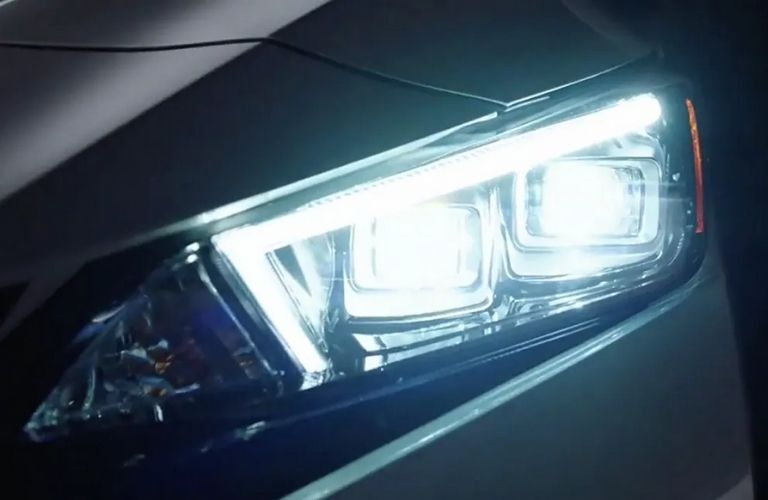 Close up view of the headlights of the 2022 Nissan LEAF