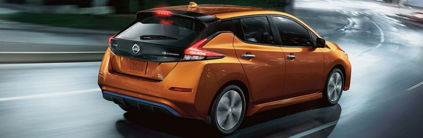 Rear end view of the 2022 Nissan LEAF on road