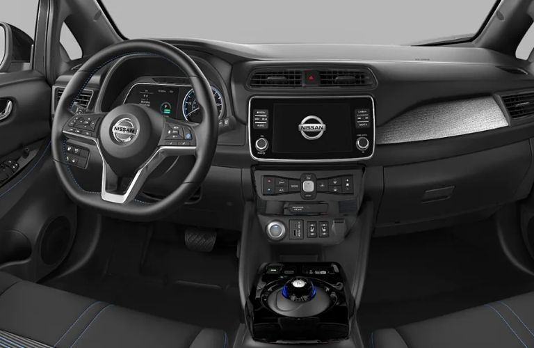 View of the interior front console of the 2022 Nissan LEA