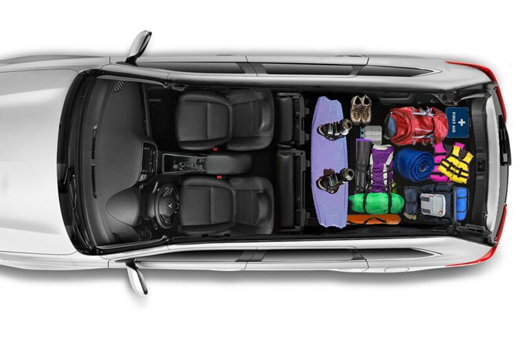 aerial view of interior seating configuration of 2019 mitsubishi outlander with cargo