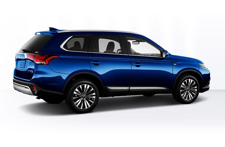 rear and side view of blue 2019 mitsubishi outlander