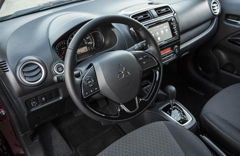 2017 Mitsubishi Mirage steering wheel and dash
