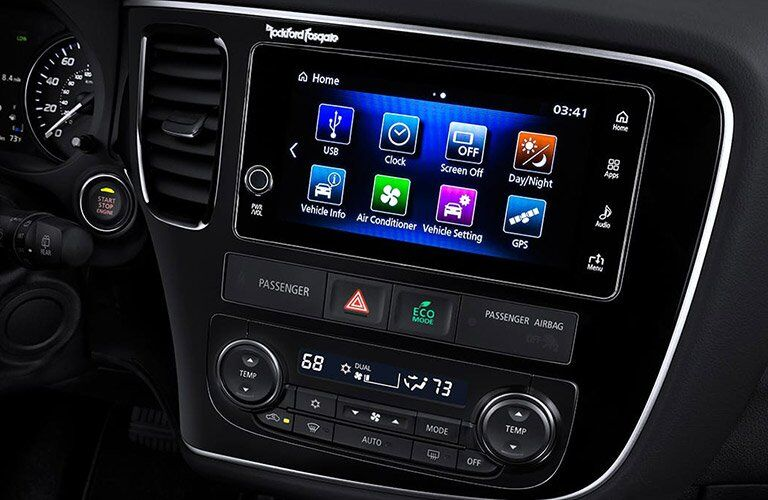 Close-up of the touchscreen on the 2017 Mitsubishi Outlander