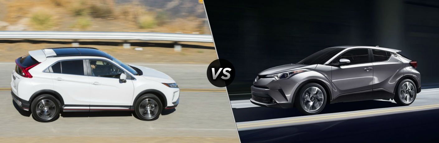 "Passenger side exterior view of a white 2018 Mitsubishi Eclipse Cross on the left ""vs"" driver side exterior view of a gray 2018 Toyota C-HR on the right"