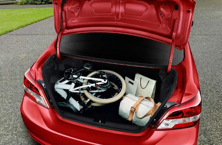 Trunk of 2018 Mitsubishi Mirage G4 filled with cargo