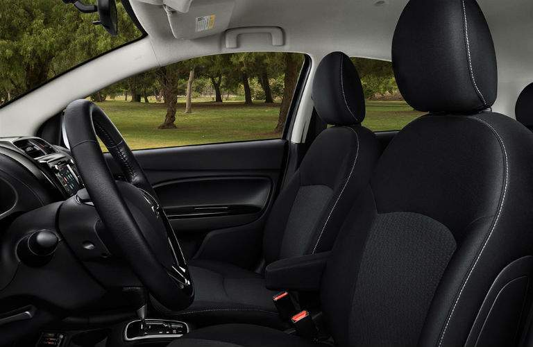 Side view of the 2018 Mitsubishi Mirage G4's front seats