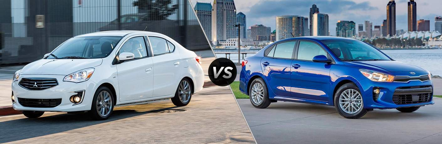 "Exterior view of a white 2018 Mitsubishi Mirage G4 on left ""vs"" exterior view of a blue 2018 Kia Rio on right"