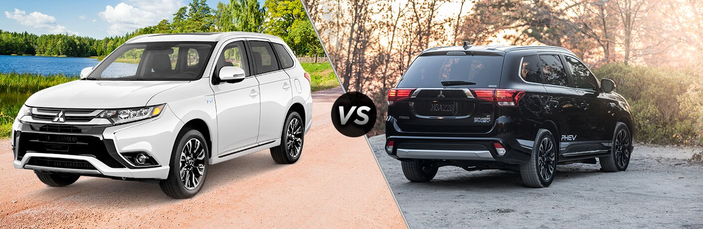 2018 Mitsubishi Outlander PHEV SEL front fascia and drivers side vs GT exterior back fascia and passenger side