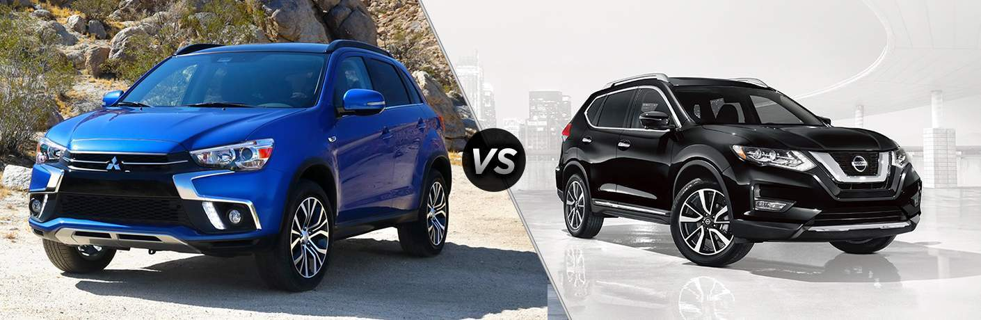 "Blue 2018 Mitsubishi Outlander Sport exterior image on left ""vs"" a black 2018 Nissan Rogue exterior image on right"